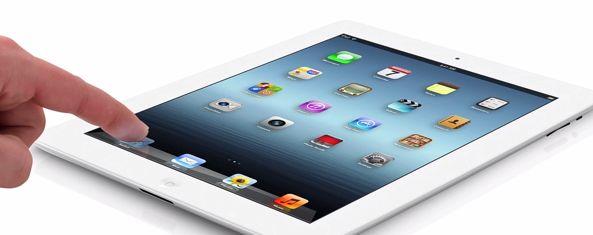 iPad 3 (white, flat, finger on Safari)