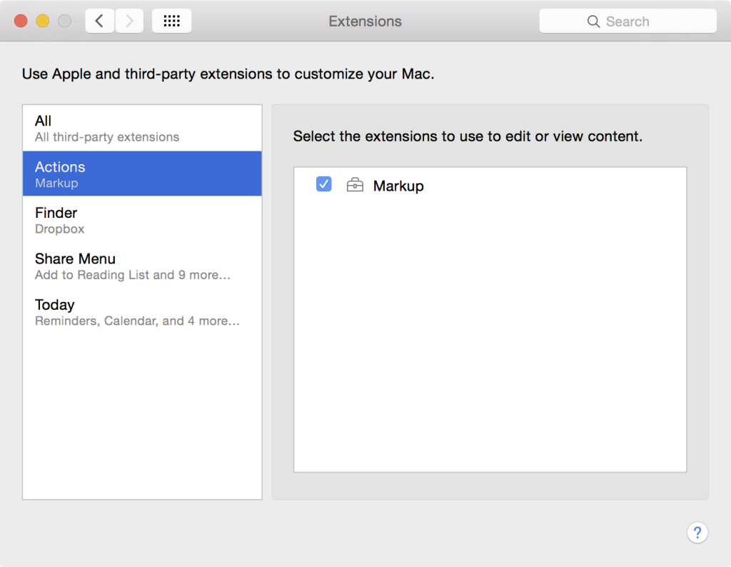Extensions OS X Markup