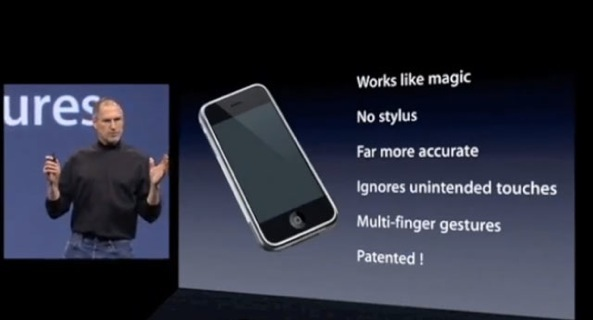 January 2007 iPhone introduction (Steve Jobs, multitouch patented slide)